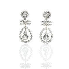 Antique Old Cut Diamond Drop Earrings, openwork drop earrings, the old cut diamonds claw set in silver on yellow gold, diamond weight carats. Bridal Jewellery Inspiration, Bridal Jewelry, Diamond Drop Earrings, Something Blue, Diamond Cuts, Wedding Day, Old Things, Victorian, Antiques