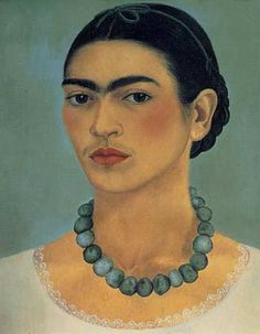 Frida Kahlo (Mexican, 1907-1954). Self-Portrait with Necklace, 1933. Oil on metal. 13 1/2 x 11 1/2 in. (34.3 x 29.2 cm). The Jacques and Natasha Gelman Collection of Modern and Contemporary Mexican Art: Courtesy The Vergel Foundation. © 2007 Banco de México Diego Rivera & Frida Kahlo Museums Trust