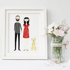 Original Personalised Bespoke Custom Family Couple Portrait Character Illustration Art - Anniversary Wedding Birthday New Baby