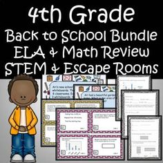 Bundle includes Task Cards, 20 ELA & 35 Math Worksheets, 3 Digital Math Escape Room Google Form, & STEM activity - Create your own name tagGreat to use the first month of school to Review 3rd Grade Math and extra practice in ELA. Use in math centers, as warm ups, homework, assessments, class... 4th Grade Activities, 4th Grade Math, Stem Activities, Grade 3, Math Task Cards, Math Words, Math Word Problems, Stem Projects, Math Fractions