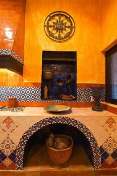Colorful colonial Mexican style in a Rivera Maya home. Capture the spirit of… Mexican Style Decor, Mexican Colors, Mexican Tiles, Spanish Style Bathrooms, Spanish Kitchen, Mexican Hacienda, Hacienda Style, Bathroom Styling, Kitchen Styling