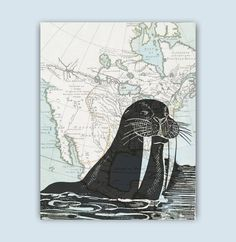 Walrus print Map Art, Walrus morsa poster, Nautical Art, gift for sailors, Beach cottage decor, coastal art decor, nautical decor, sealife by GeographicArt on Etsy