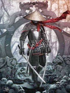 A ronin was a samurai with no lord or master during the feudal period of Japan. A samurai became master-less from the death or fall of his master, or. Samurai Tattoo, Demon Tattoo, Tattoo Art, Shogun Tattoo, Ronin Tattoo, Fantasy Warrior, Fantasy Art, Fantasy Women, Character Inspiration