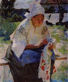 """Mother"", Konstantin Matveevich Lomykin (Glukhov 1924 - Odessa 1993) Ukrainian Art, Russian Art, Ukraine, Arts And Crafts, Clip Art, Fine Art, Painting, Pictures, Stitching"