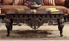 Arcata Coffee Table Set with Ball and Claw Design in Dark Brown by