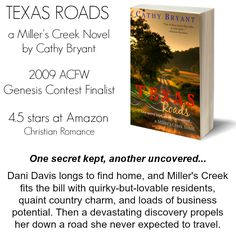 """99-cent sale TEXAS ROADS #ChristianRomance 4.5 stars on Amazon """"A city gal searches for home in back-roads Texas."""" http://www.amazon.com/Texas-Roads-Millers-Creek-Novel-ebook/dp/B00480OH1G/ref=as_sl_pc_ss_til?tag=cathbrya-20&linkCode=w01&linkId=EECMJ2GO3X7H5AFY&creativeASIN=B00480OH1G"""