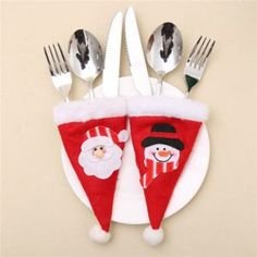 Snowman and Santa Claus Christmas Hat Decoration Knife and Fork Bag Christmas Hat, Christmas Stockings, Christmas Crafts, Christmas Decorations, Christmas Ornaments, Holiday Decor, Crafts To Make, Arts And Crafts, Small Paper Bags