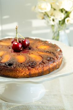 Gluten Free Peach Cherry Upside Down Cake - So soft and you can use any fruit you like | #paleo #glutenfree #grainfree #cake #dairyfree #healthy www.deliciousmeetshealthy.com