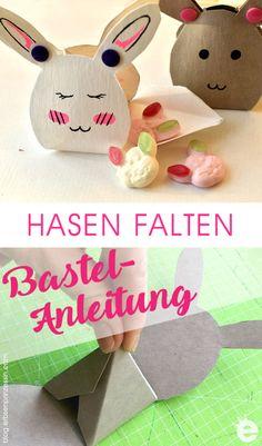 schnelles DIY-Osterbasteln: gefaltete Osterhasen - Geschenkboxen Place Cards, Place Card Holders, Blog, Blogging