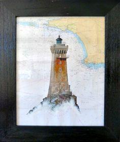 Le phare de la Vieille, acrylique sur carte marine #bretagne #cartemarine #peinture #tableau #phare