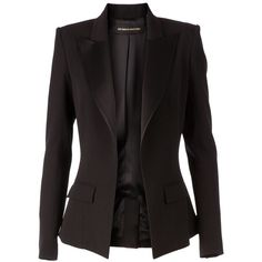 Alexandre Vauthier Fitted Blazer (€2.440) ❤ liked on Polyvore featuring outerwear, jackets, blazers, tops, black, long sleeve blazer, open front blazer, blazer jacket, fitted jacket and alexandre vauthier