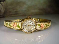 1960s, CRAWFORD Wrist Watch, Mechanical Watch, Hand Painted Watch, Wind Up Watch, Ladies Watch, Ladies Wrist Watch, Vintage Watch, Watch by CarolsVintageJewelry on Etsy