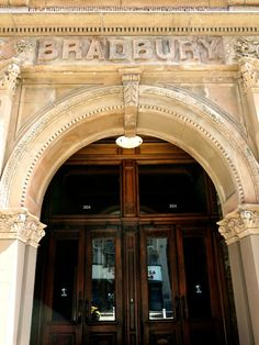 Downtown Los Angeles Guide - The Bradbury Building // The One Where I Move To California Bradbury Building, Moving To California, Downtown Los Angeles, Blade Runner, Statues, Places To Travel, Entrance, Mermaid, Around The Worlds