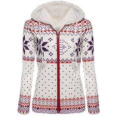 Endearing Fleece Hooded Long Sleeve Snowflake Printed Christmas Hoodie For Women