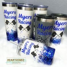 Congrats to Myers Racing and your win last Weekend! Vinyl Tumblers, Custom Tumblers, Race Quotes, Tumblr Cup, Mom Tumbler, Cup Crafts, Tumbler Designs, Glitter Cups, Checkered Flag