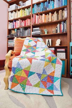 This twin, bed-size quilt is perfect for tweens and teens who love bright colors. Brava, by Deb Finan, is easy to make and features a fun star design!