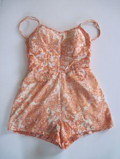 50s Vintage Dreamy Orange Swimsuit Romper Rockabilly by MissUFO, $38.00