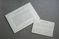 Letterpress wedding invitations, individual invitations, printed by #stoneberrypress