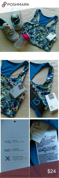NWT GAP Fit Crop Top Sports Bra Ladies Medium New with tags/never worn. Bright blue on one side of reversible print in blue/pink/neon yellow/green abstract pattern. Wear for yoga, pure Barre, working out, or lounge! Goes from the gym to the dog park, pair w/your favorite high waist shorts! Wicking/breathable/4-way stretch/low impact (see pics). Bundle with my other workout & ladies/men's items or kids/baby clothes :-) Please ask any questions before buying. Props not included. Smoke & pet…