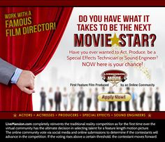 Want To Be A Movie Star? Apply Today for Live Mansion The Movie Competition. http://www.livemansion.com/