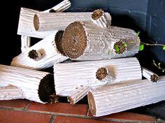 diy project: cardboard faux logs