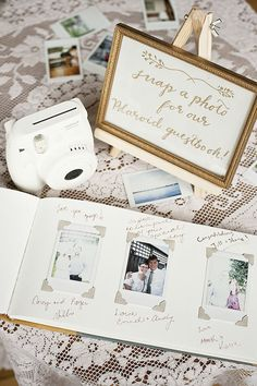 Polaroid Wedding Guest Book: Make sure all the celebrating (and each of the guests) is documented in a not-too-fussy guest book, like this polaroid-packed option for your modern wedding or engagement party.