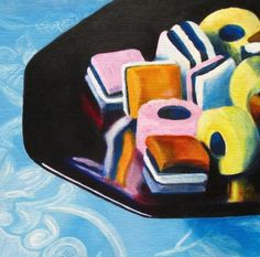 "Original painting, Still life painting in acrylics ""Sweet Delights"", realism, candies, candy still life OOAK"