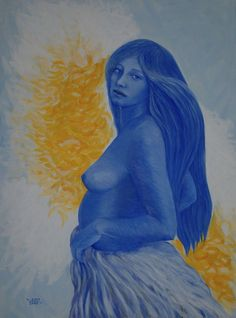 """Maternity in blue"", acrilyc (cm 60x80)"