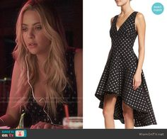 Hanna's black and silver dotted dress on Pretty Little Liars. Outfit Details: https://wornontv.net/58343/ #PLL Buy it here: http://wornon.tv/36662