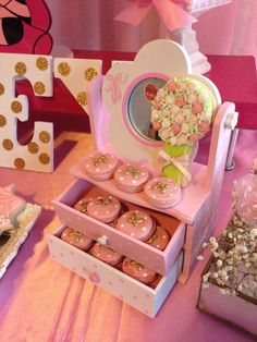 Macarons at a Minnie Mouse ballerina birthday party! See more party planning ideas at CatchMyParty.com!