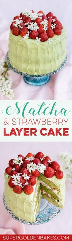 Matcha pairs so well with strawberries. This matcha and strawberry layer cake looks spectacular and tastes absolutely delicious. Layer Cake Recipes, Best Dessert Recipes, Easy Desserts, Sweets Recipes, Healthy Desserts, Delicious Recipes, Dessert Simple, Strawberry Layer Cakes, Matcha