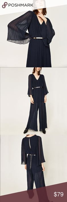 Zara navy blue pleated jumpsuit - medium Love pleats! Great for dressy occasion without trying too hard... belt included Zara Pants Jumpsuits & Rompers