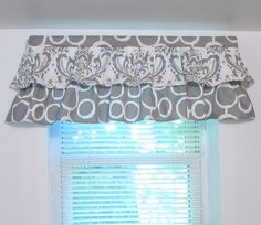 Items Similar To Two Tiered Valance Ruffled Curtain Kitchen Bathroom Nursery Traditions Freehand Twill Storm Grey Custom Sizing Available