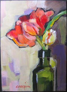 """Double Dutch in an Olive Oil Jar"""" original fine art by Diane Campion Paintings I Love, Small Paintings, Floral Artwork, Arte Floral, Abstract Flowers, Fine Art Gallery, Love Art, Painting Inspiration, Olive Oil"""