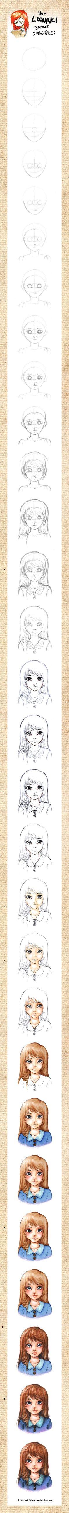 How Loonaki Draws Girls Faces by *Loonaki on deviantART