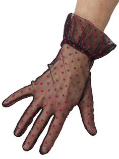 Dents Sheer Net Vintage Polka Dot Gloves - Delicate and elegant dress gloves with frilled cuff in finest quality sheer net fabric with superimposed polka dot pattern. In black/hot pink, ivory and white.