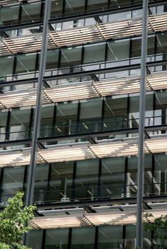 Sun control with a unique aesthetic. Hunter Douglas Sun Louvres .#architecture #facades #hunterdouglas
