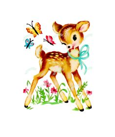 Vintage Digital download, Cute Bambi, Vintage greeting card, Printable, image, Cards, Scrapbooking, Vintage collage sheet
