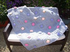 Hand crochet Blanket / Throw. /www.etsy.com/uk/listing/205077225/pretty-flowered-crochet-blanket-throw?