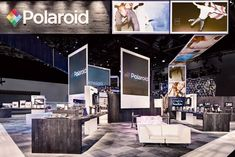 For the Polaroid space at CES 2011, Skyline Exhibits had images streaming overhead across two ribbon-screen projections, ending in the compa... Photo: Padgett & Co.