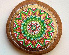 Flores de piedra pintados a mano / Set de 6 por ISassiDellAdriatico