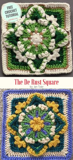 "Free Crochet Tutorial or Paid Pattern This project comes from ""The De Rust Square"" made Jen Tyler website and is paid, but she did the free"