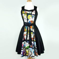 On Sale Comic Black Full Circle Swing Vintage Inspired Dress ($60) ❤ liked on Polyvore featuring dresses, comic dress, black comic book, vintage style dresses, flared skirt and circle skirt