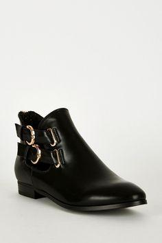 Black Double Buckle Zip Heel Ankle Boots