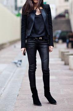 tuxedo jacket + leather