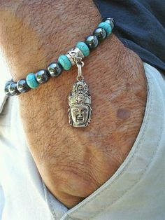 Mens Bracelet Semi Precious Hematite, Turquoise, Tibetan Buddha Charm, Peace and Love Turquoise and Bali Beads Men Accesories, Jewelry Accessories, Fashion Accessories, Jewelry Design, Fashion Jewelry, Bracelets For Men, Jewelry Bracelets, Jewelery, Men's Jewelry