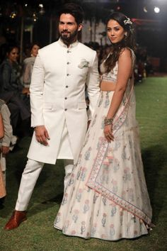 Shahid & Mira Kapoor walk the runway for designer Anita Dongre at Lakme Fashion Week 2018 Engagement Dress For Groom, Couple Wedding Dress, Wedding Outfits For Groom, Summer Wedding Outfits, Engagement Outfits, Wedding Couples, Indian Engagement Outfit, Bridal Outfits, Bridal Shoes