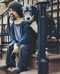 Game of Thrones Actor, Peter Dinklage, with his dog, Kevin. #celebrities #dogs #gameofthrones