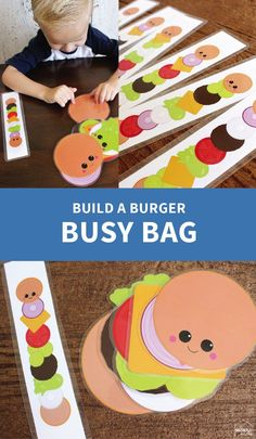 Build a burger busy bag printables games for kids busy bags, Toddler Learning Activities, Infant Activities, Preschool Activities, Kids Learning, Phonics Games For Kids, Printable Games For Kids, Quiet Time Activities, Printable Activities For Kids, Teaching Kids