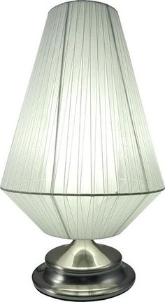 This ornate and unique table lamp is a lovely side lamp for the home The base is brushed steel and the shade is a grey ribbed material It takes E27